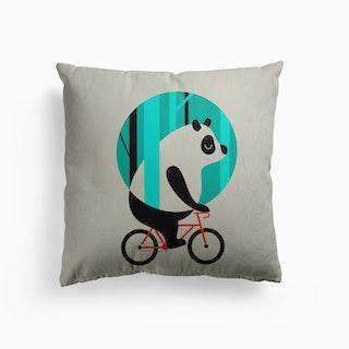 Panda Ride Canvas Cushion