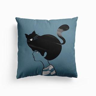 Cat Head Blue Canvas Cushion