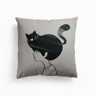 Cat Head Canvas Cushion