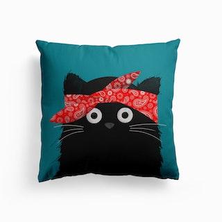 Cat Tupac Canvas Cushion