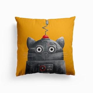 Cat Robot Canvas Cushion