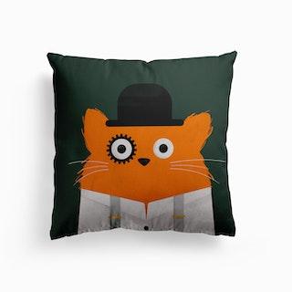 Cat Clockwork Canvas Cushion