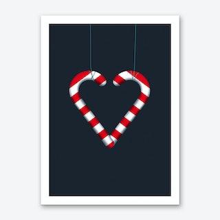 Christmas Candy Heart Art Print