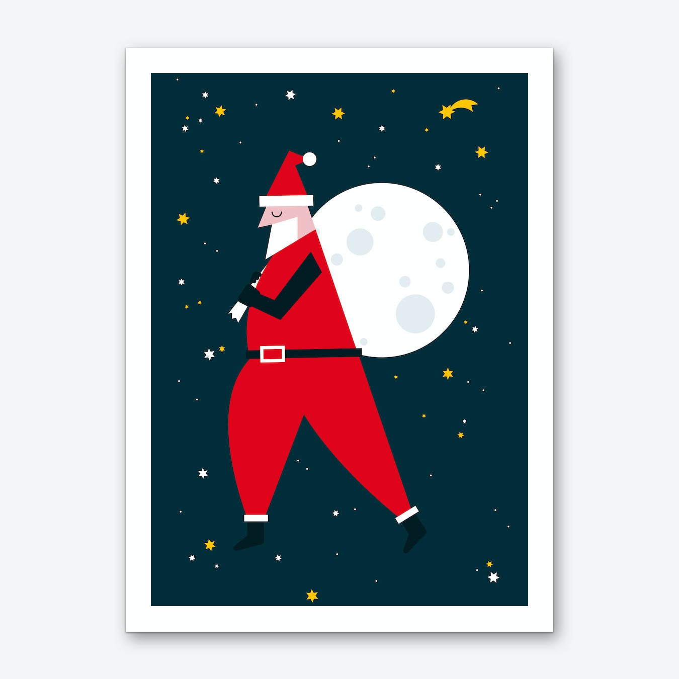 Christmas Santa Moon Art Print