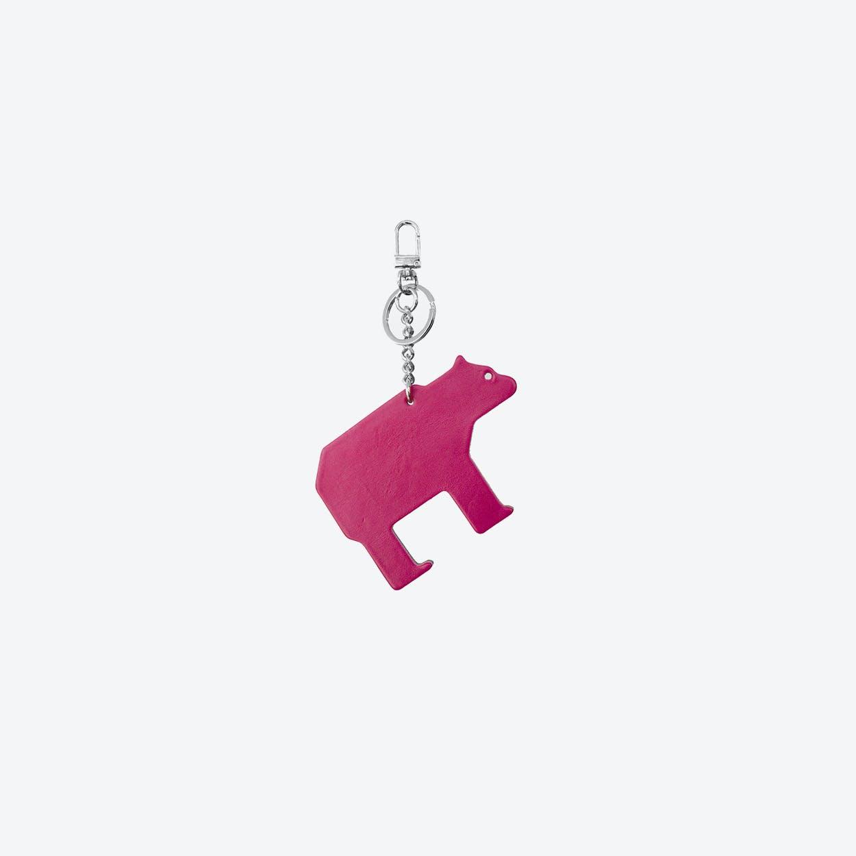 Bear PET Bag Charm in Magenta