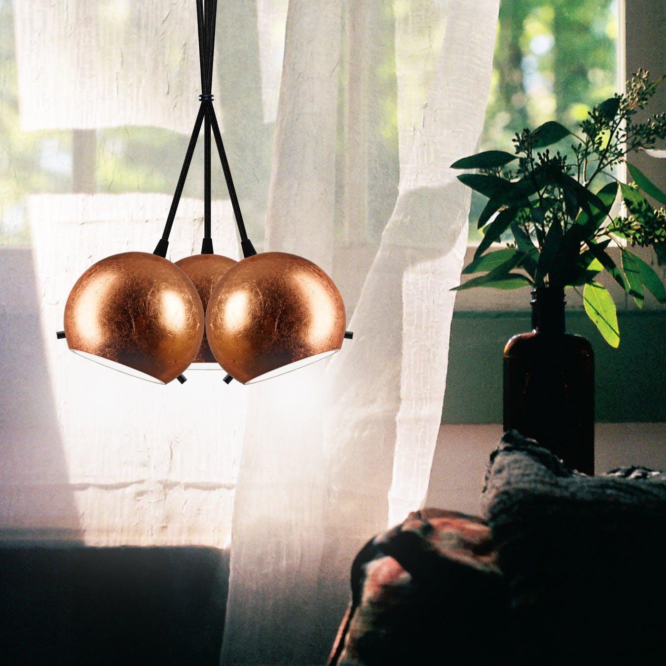 MYOO 3-Light Cluster in Copper Leaf