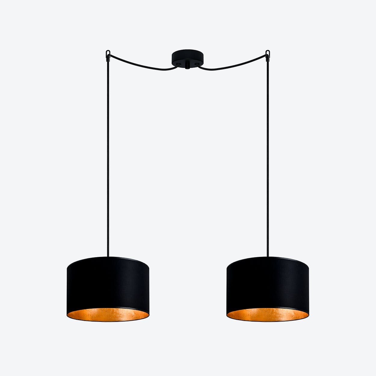 MIKA Small Double Pendant Light in Black with Gold Leaf