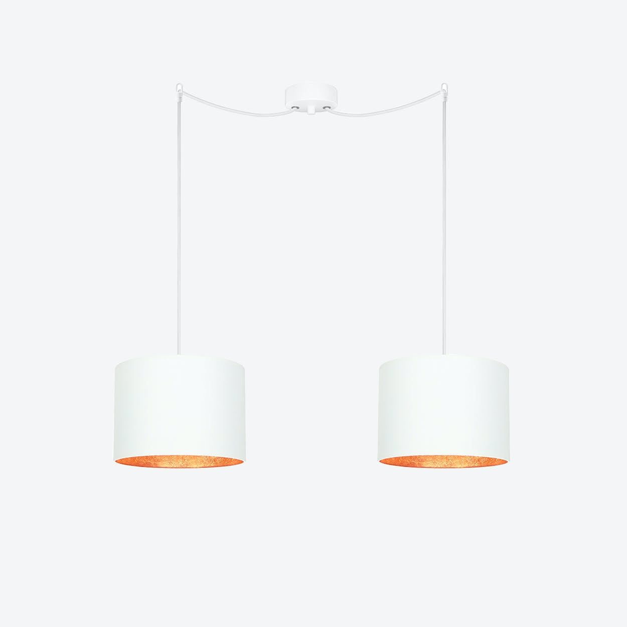 MIKA Small Double Pendant Light in White with Copper Leaf