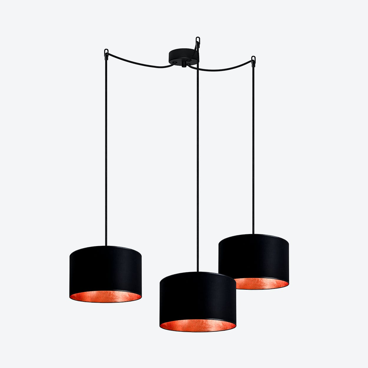 MIKA Small Triple Pendant Light in Black with Copper Leaf