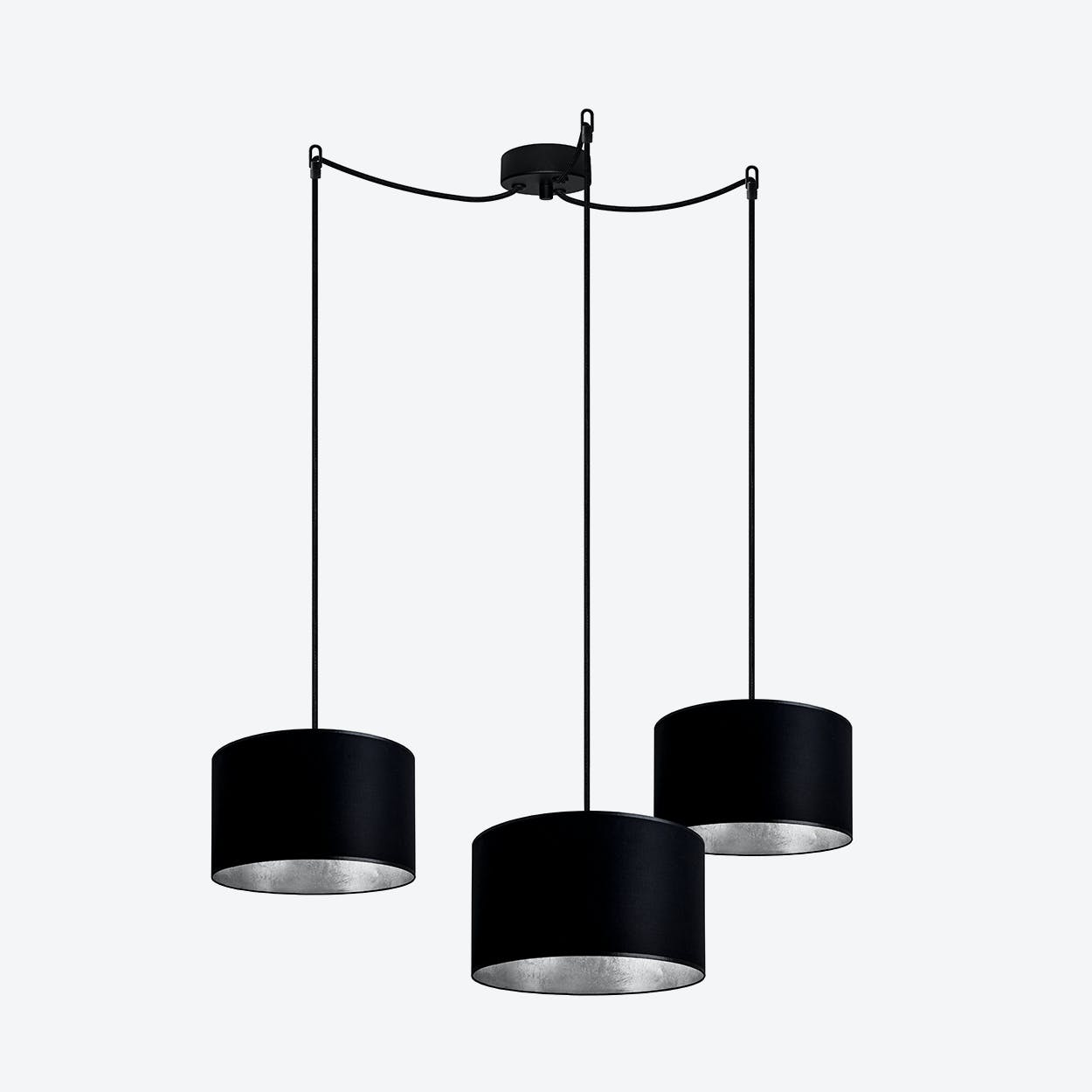 MIKA Small Triple Pendant Light in Black with Silver Leaf