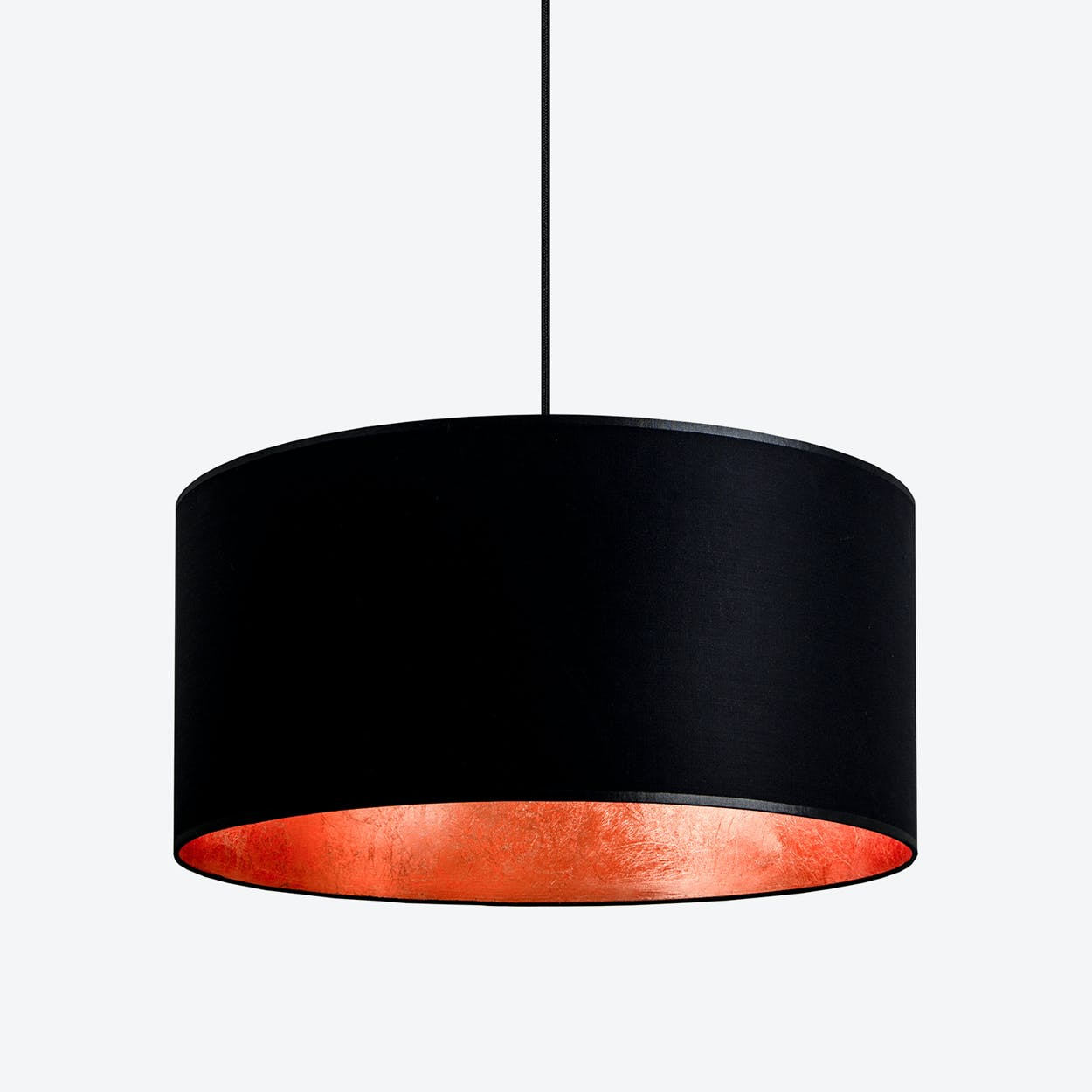 MIKA XL Single Pendant Light in Black with Copper Leaf