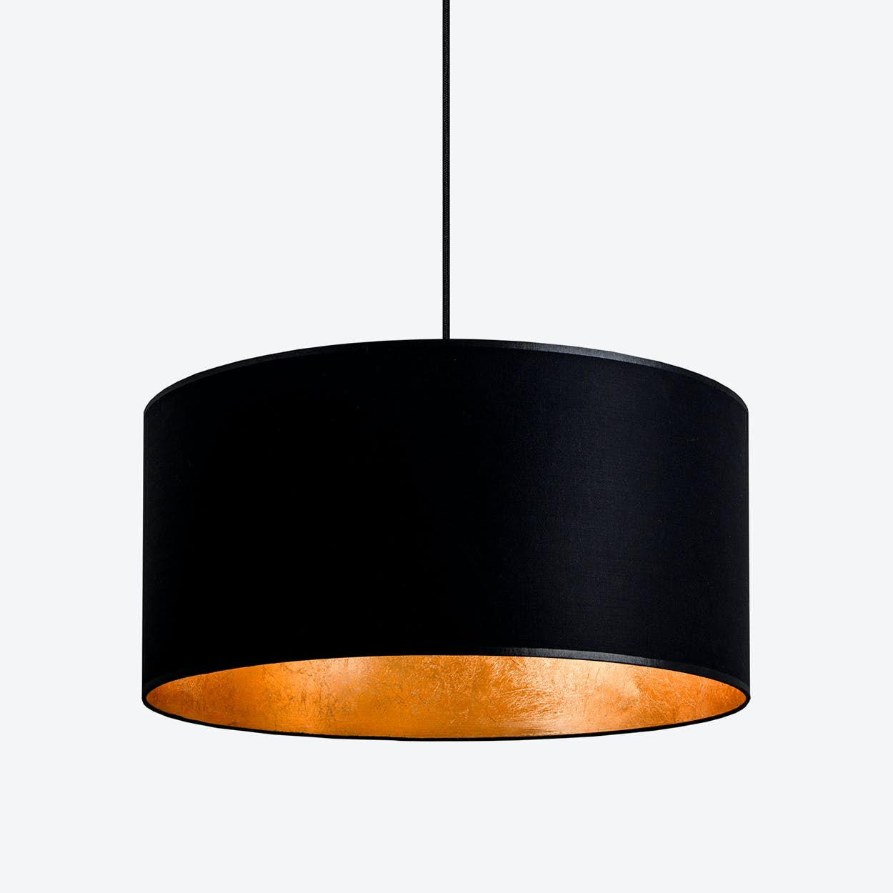 MIKA XL Single Pendant Light in Black with Gold Leaf