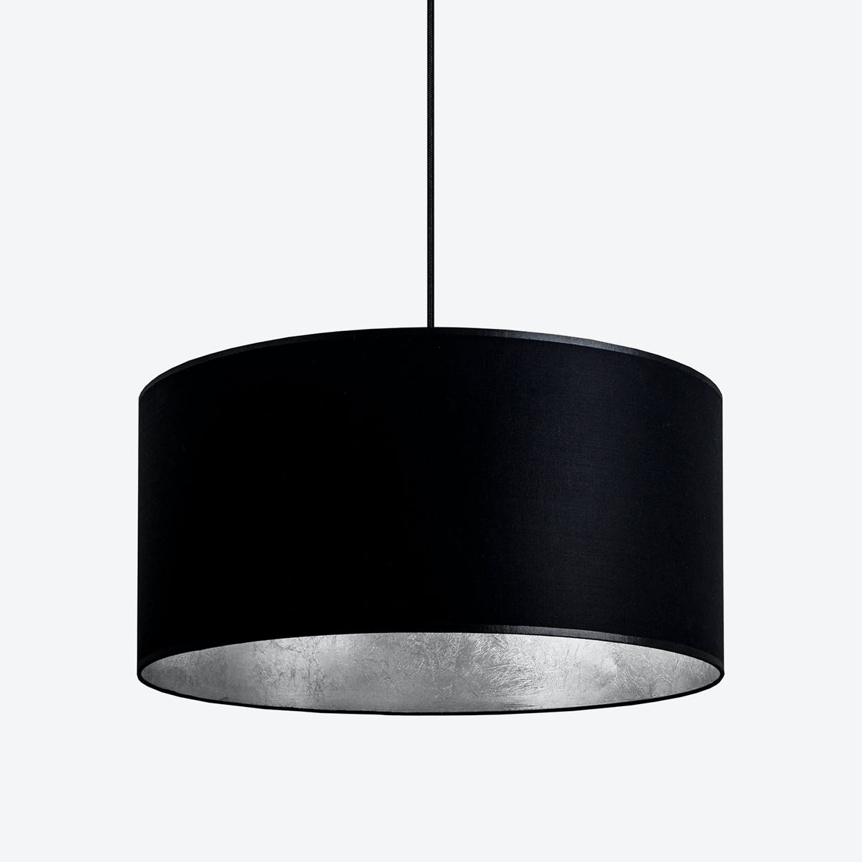 MIKA XL Single Pendant Light in Black with Silver Leaf