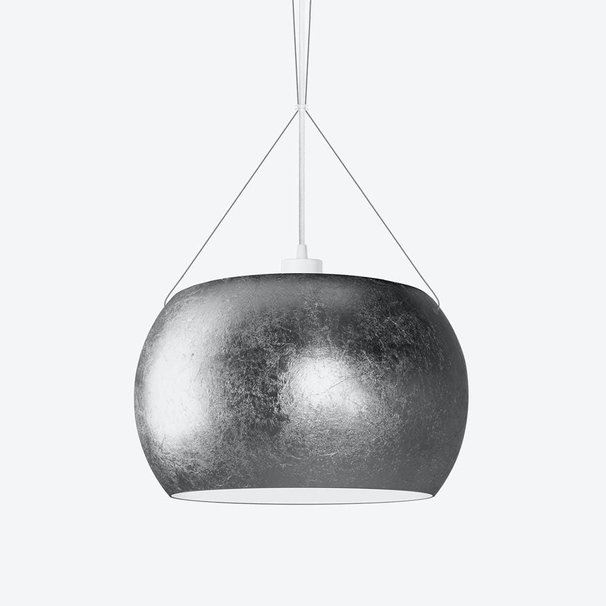 MOMO Single Pendant Light in Silver Leaf