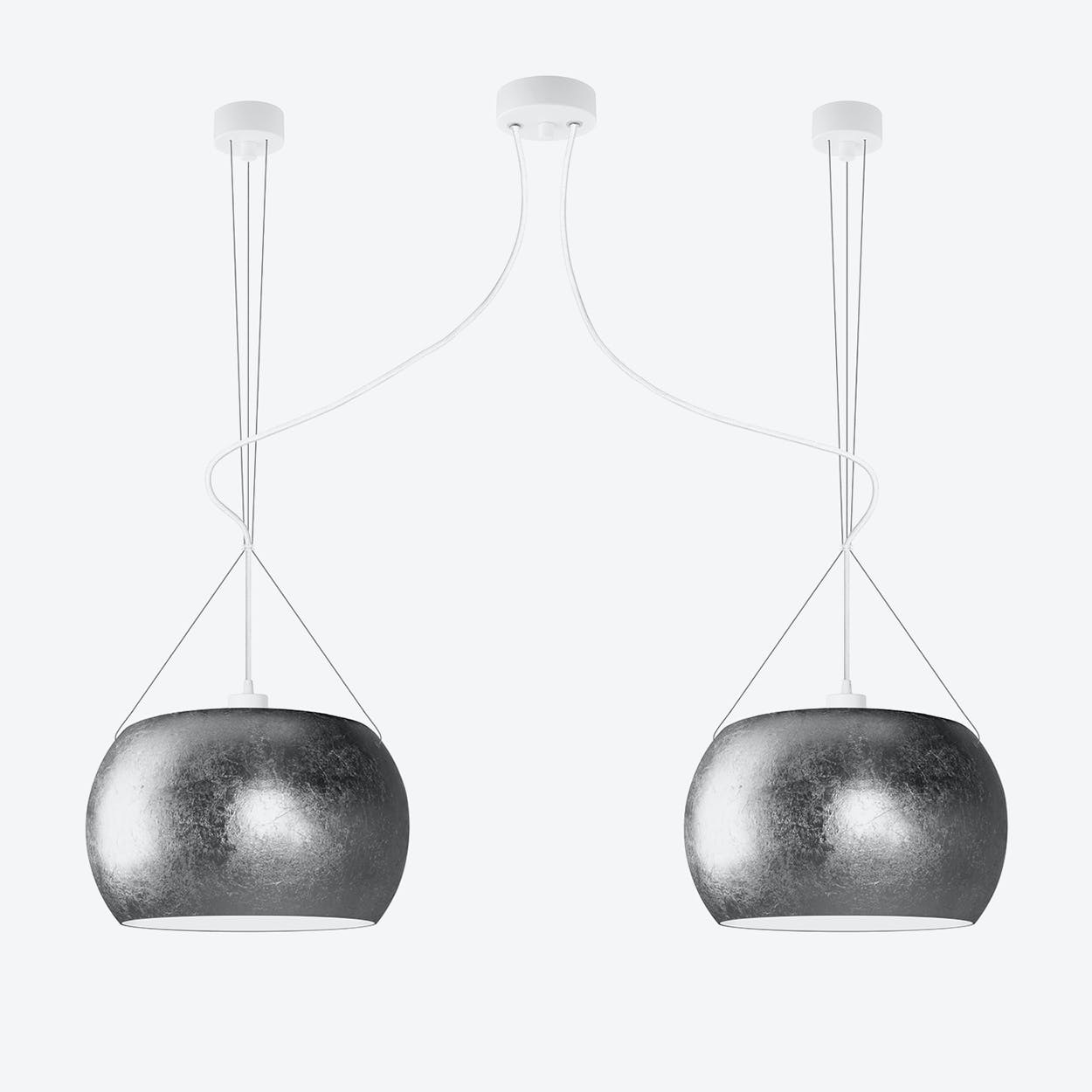 MOMO Double Pendant Light in Silver Leaf