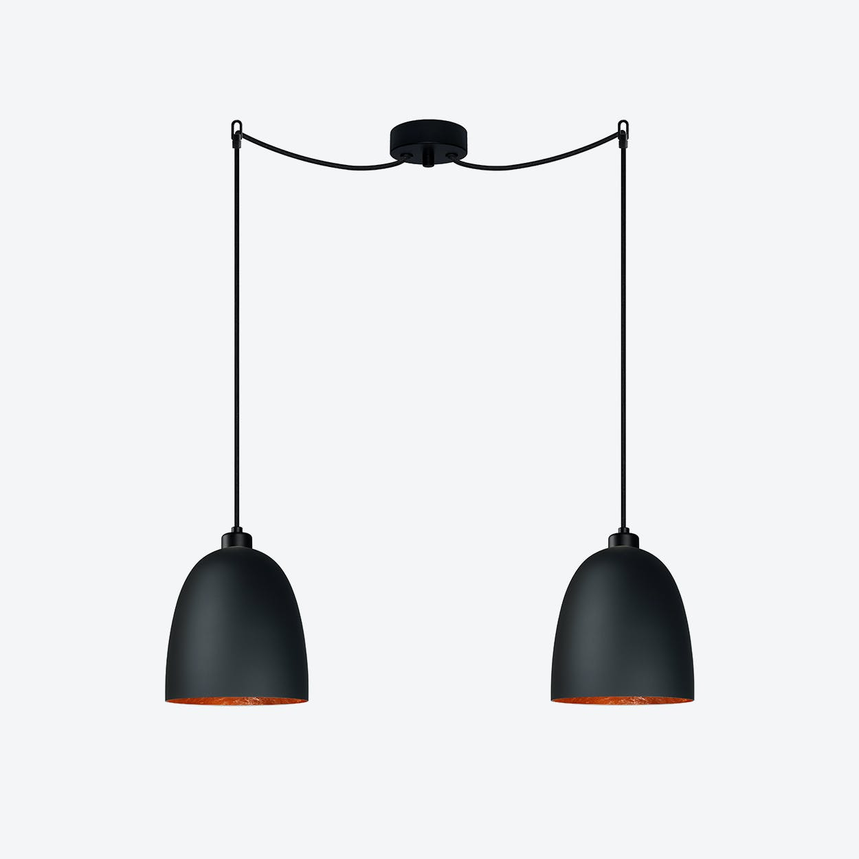 AWA Double Pendant Light in Matte Black with Copper Leaf