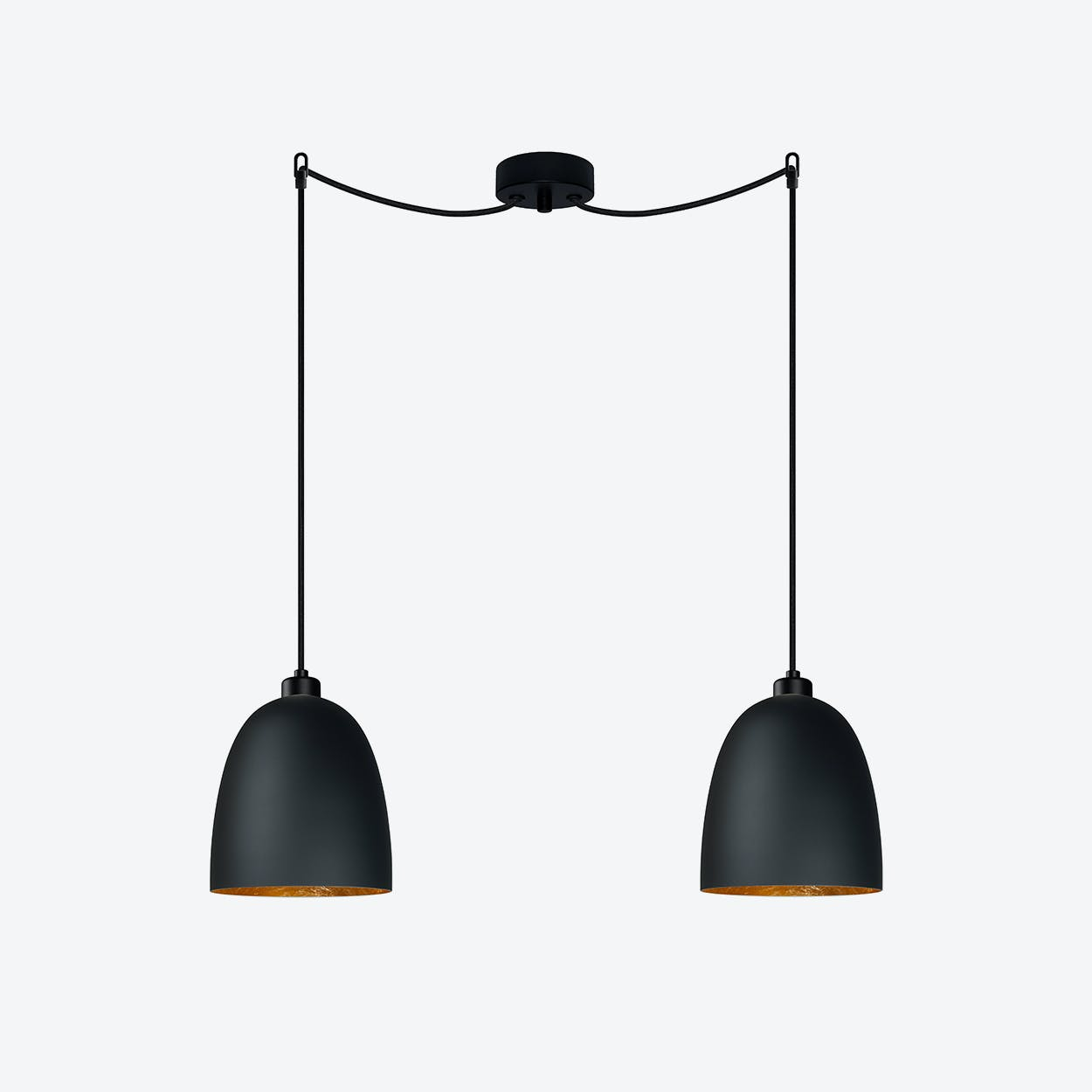 AWA Double Pendant Light in Matte Black with Gold Leaf