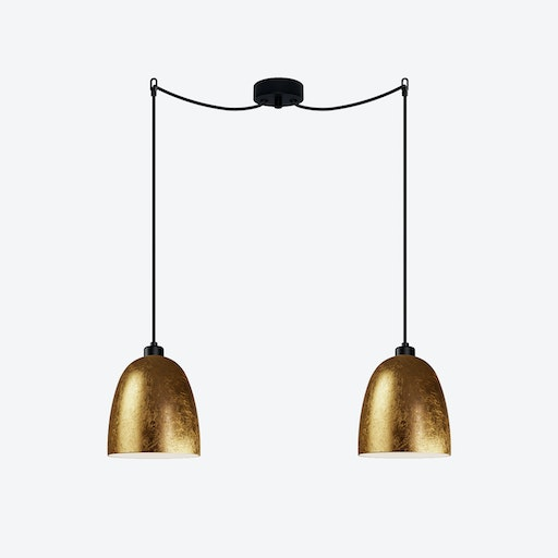 AWA Double Pendant Light in Gold Leaf