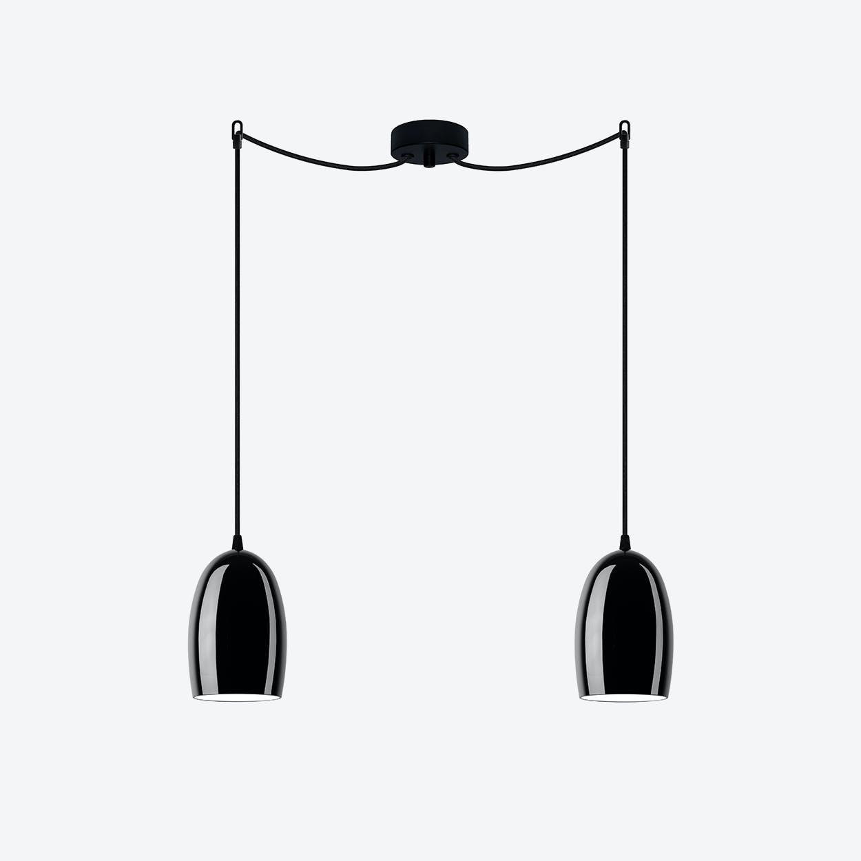 UME Double Pendant Light in Glossy Black