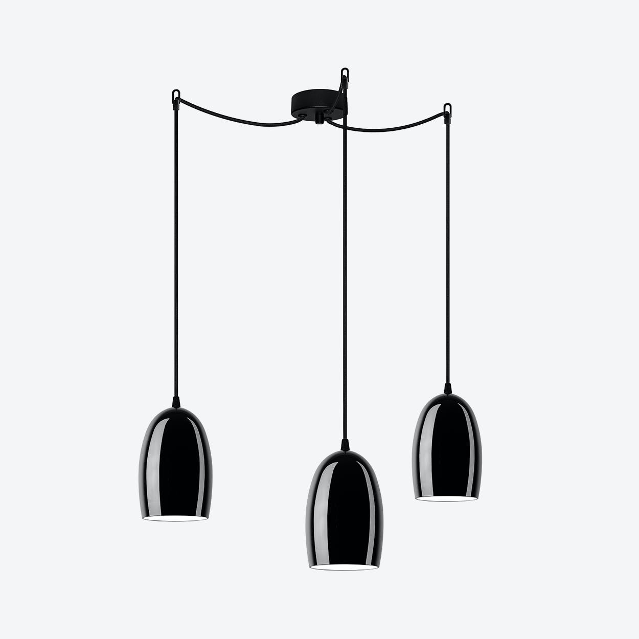 UME Triple Pendant Light in Glossy Black