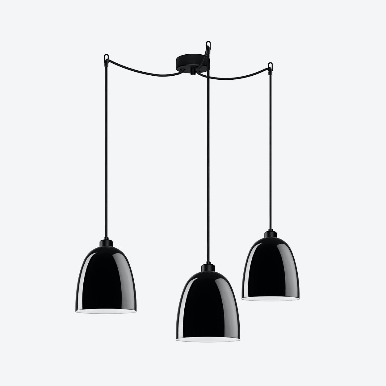 AWA Triple Pendant Light in Glossy Black