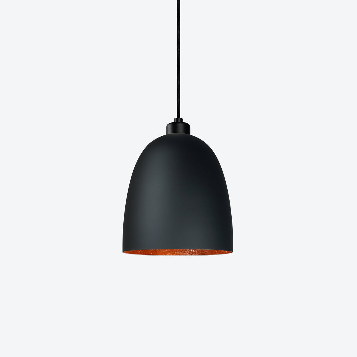 AWA Single Pendant Light in Matte Black with Copper Leaf