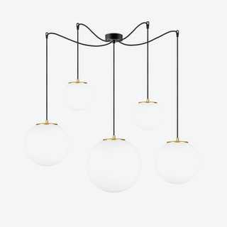 Tsuki 5 Pendant Light Matte Opal with Imitation Gold Leaves