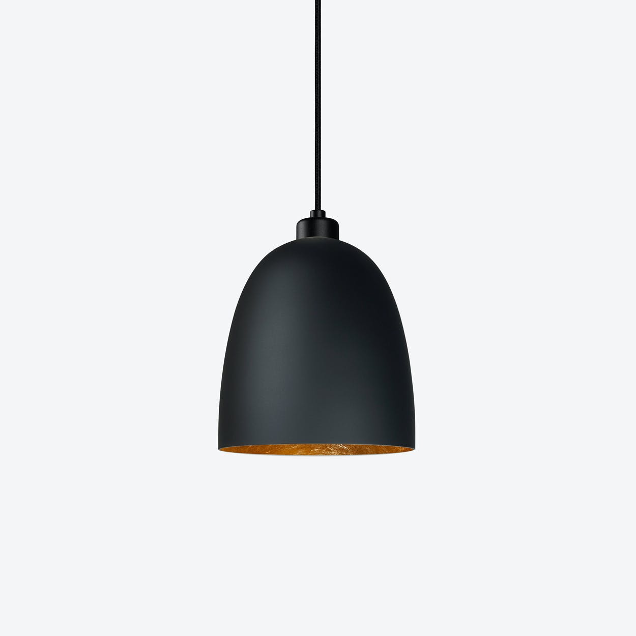 AWA Single Pendant Light in Matte Black with Gold Leaf