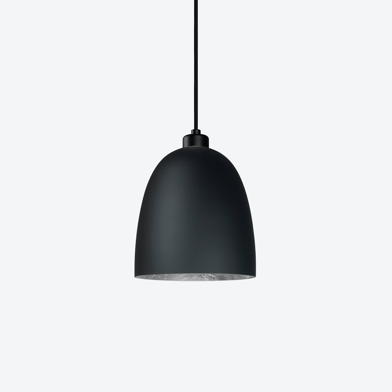 AWA Single Pendant Light in Matte Black with Silver Leaf