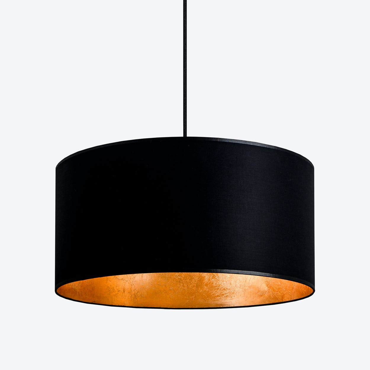 MIKA Large Single Pendant Light in Black with Gold Leaf