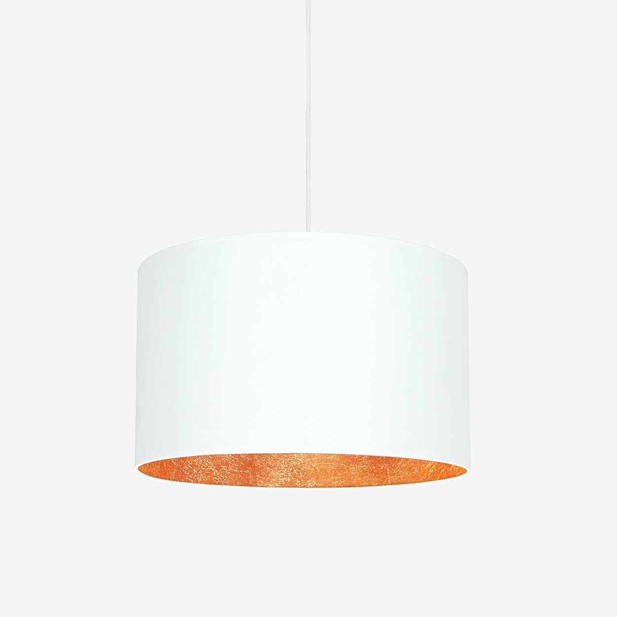 MIKA Large Single Pendant Light in White with Copper Leaf