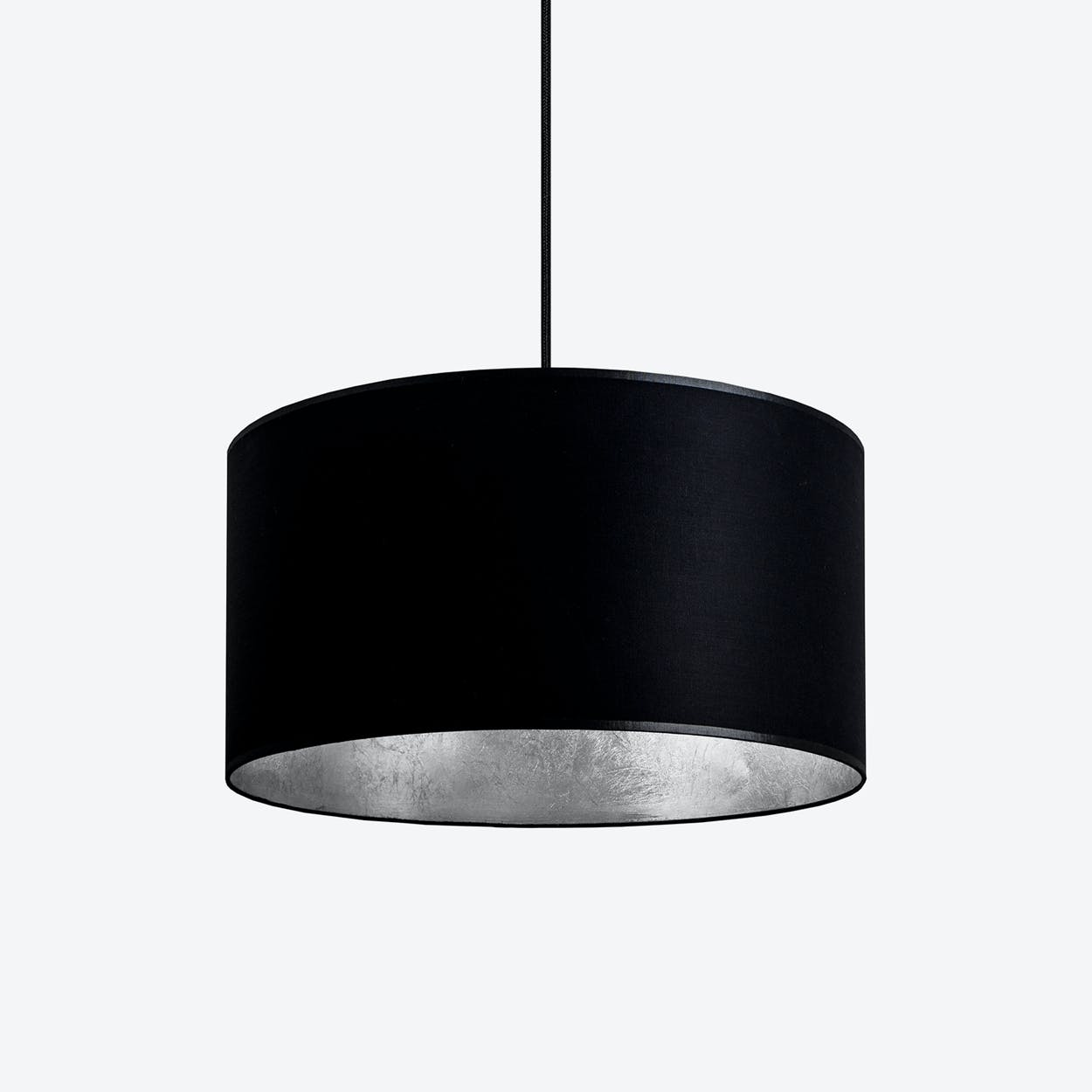 MIKA Medium Single Pendant Light in Black with Silver Leaf
