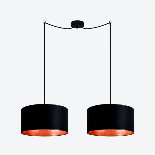 MIKA Medium Double Pendant Light in Black with Copper Leaf