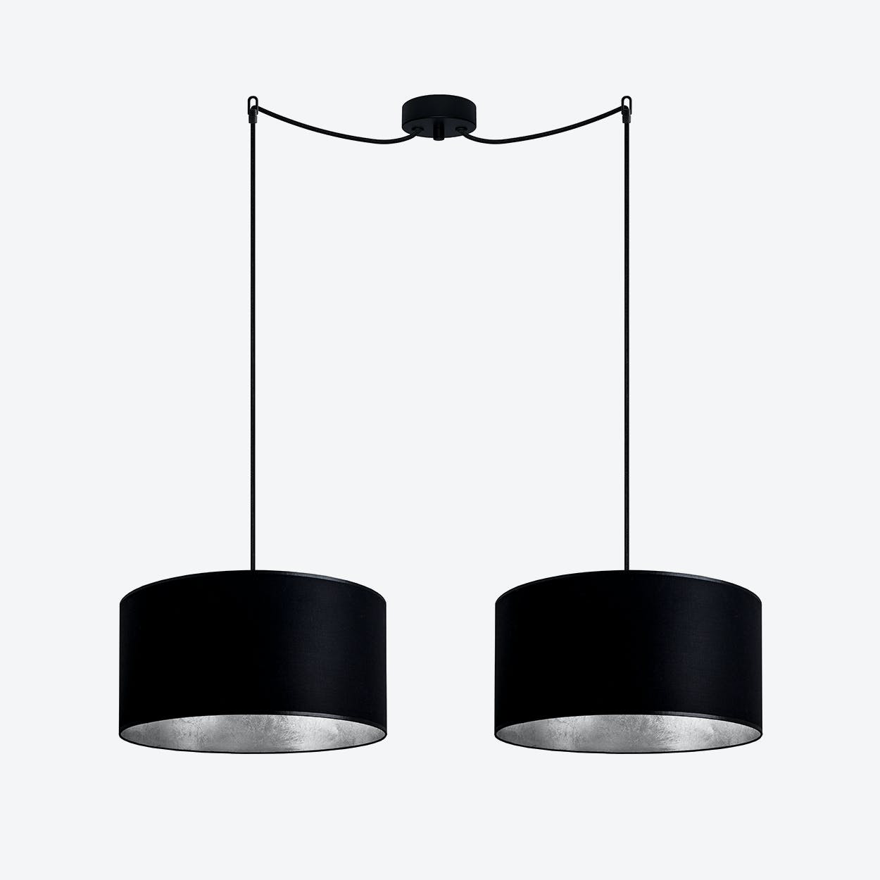 MIKA Medium Double Pendant Light in Black with Silver Leaf