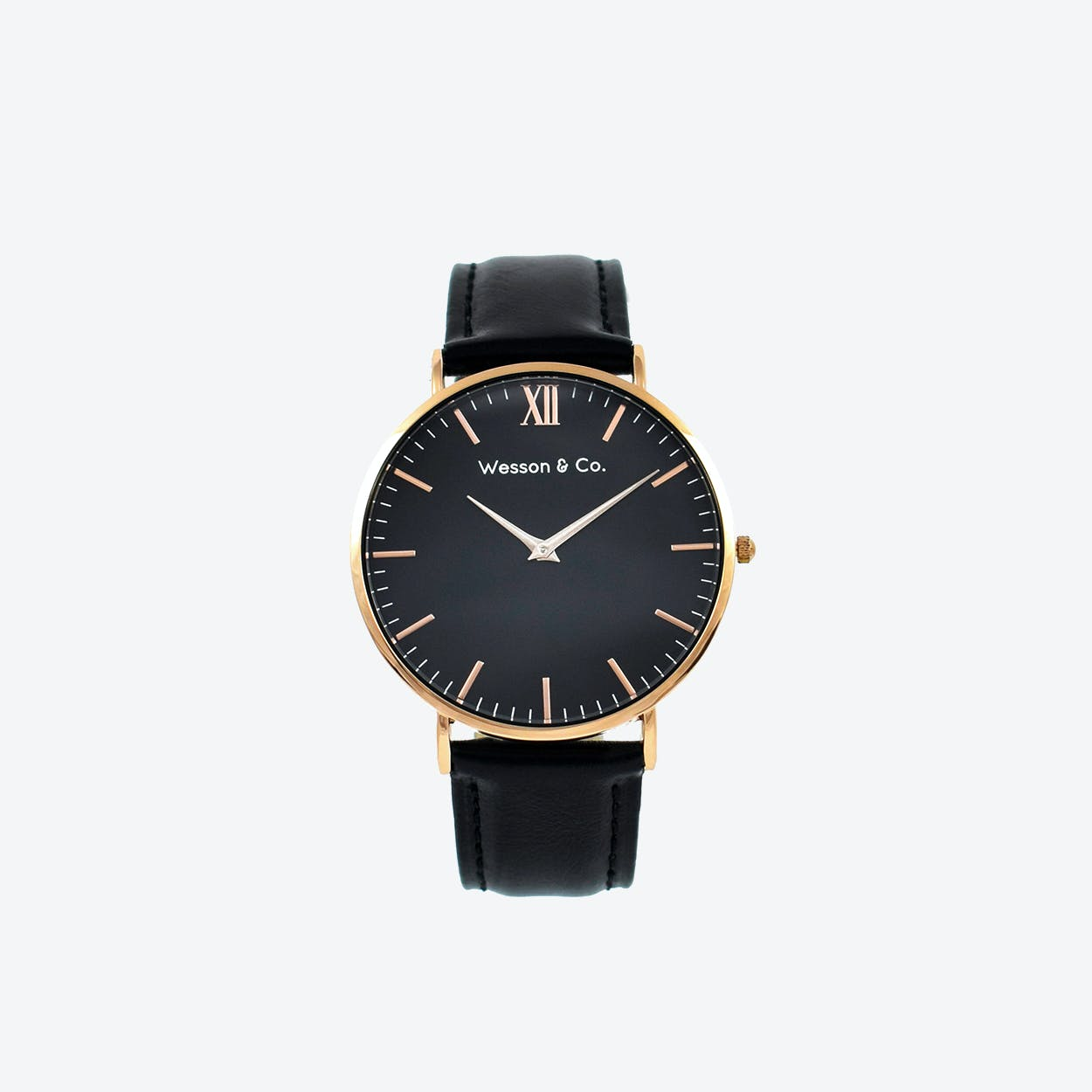 Minimal Watch in Rose Gold with Black Face and Black Leather Strap