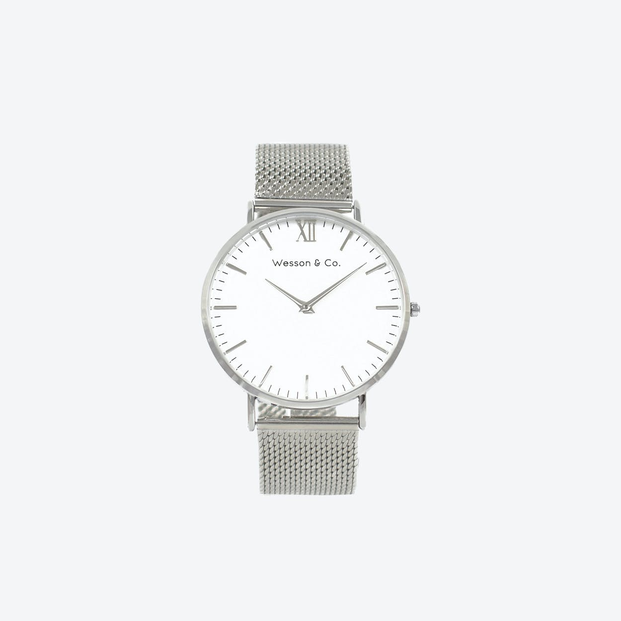 Minimal Watch in Silver with White Face and Silver Mesh Strap
