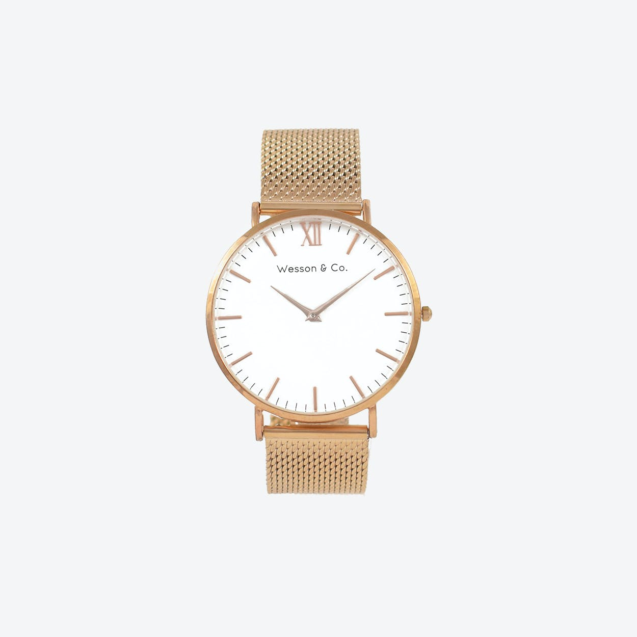 Minimal Watch in Rose Gold with White Face and Rose Gold Mesh Strap