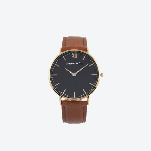 4c15fd963 Minimal Watch in Rose Gold with Black Face and Brown Leather Strap by  Wesson & Co.