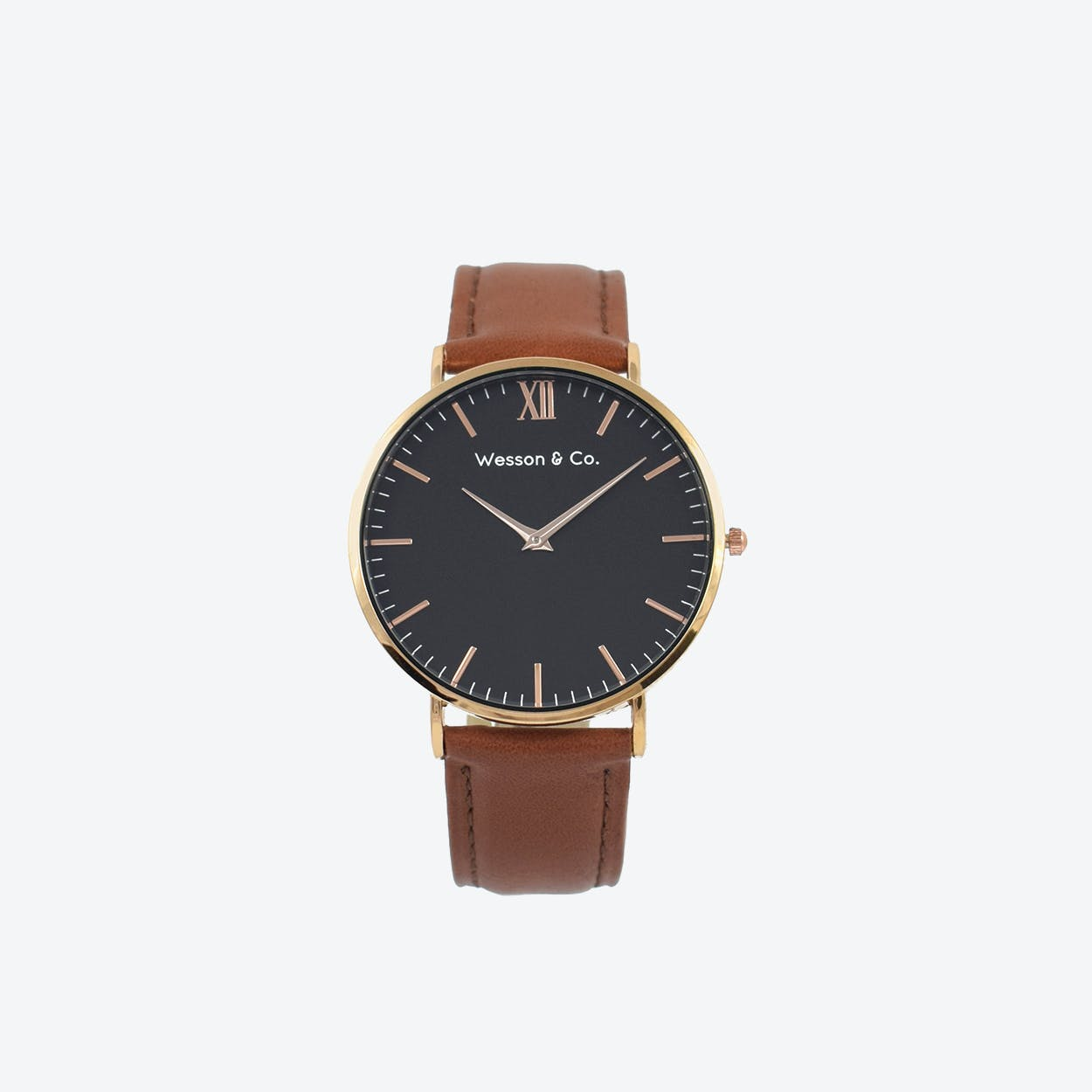 Minimal Watch in Rose Gold with Black Face and Brown Leather Strap