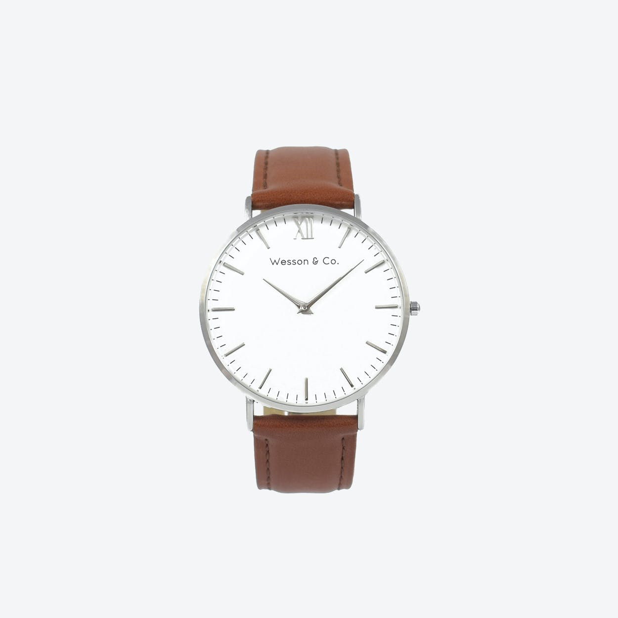 Minimal Watch in Silver with White Face and Brown Leather Strap