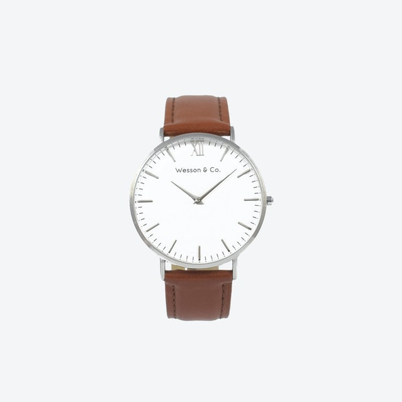 b66e3b6c362 Minimal Watch in Silver with White Face and Brown Leather Strap by Wesson    Co.
