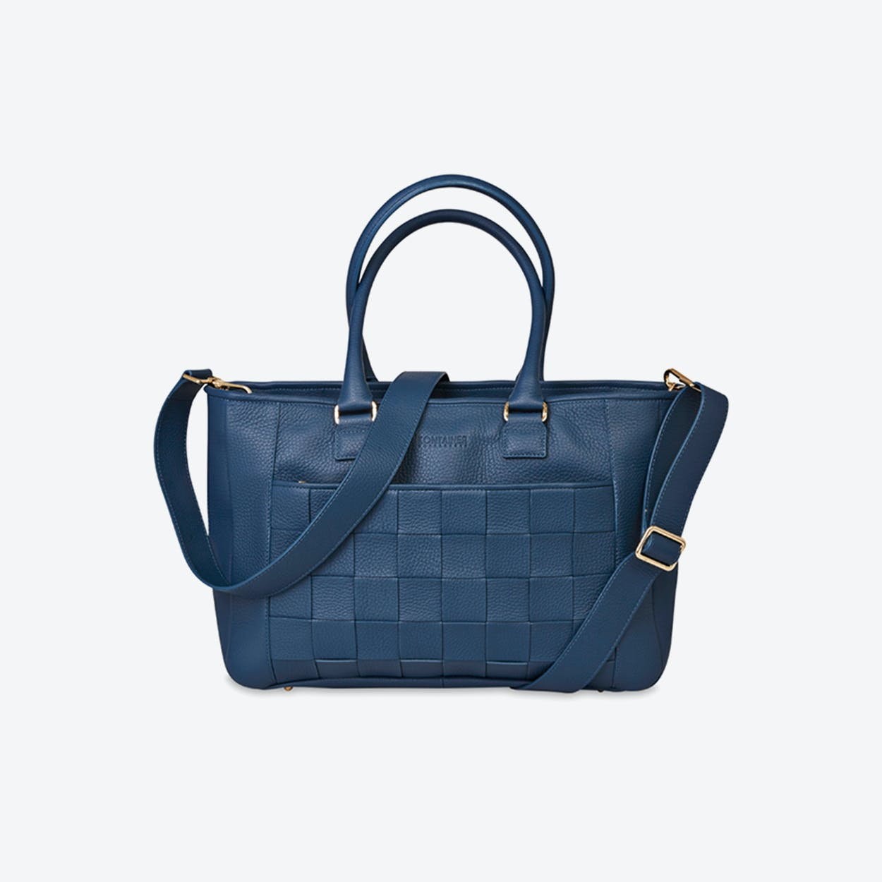 Braided Shopper in Aqua Blue