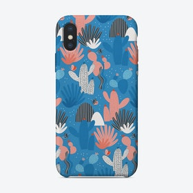 Blue Cactus Pattern iPhone Case