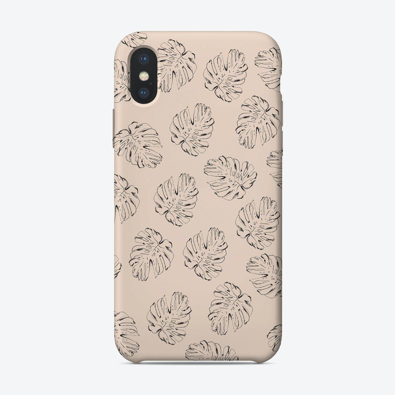 Monstera Leaf Case Pink iPhone Case