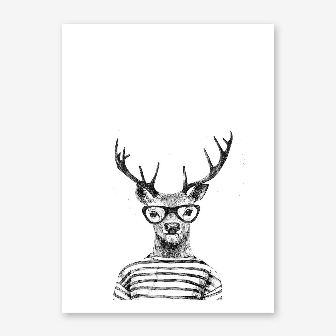 Hipster Deer Print