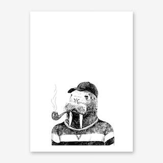 Hipster Walrus Art Print