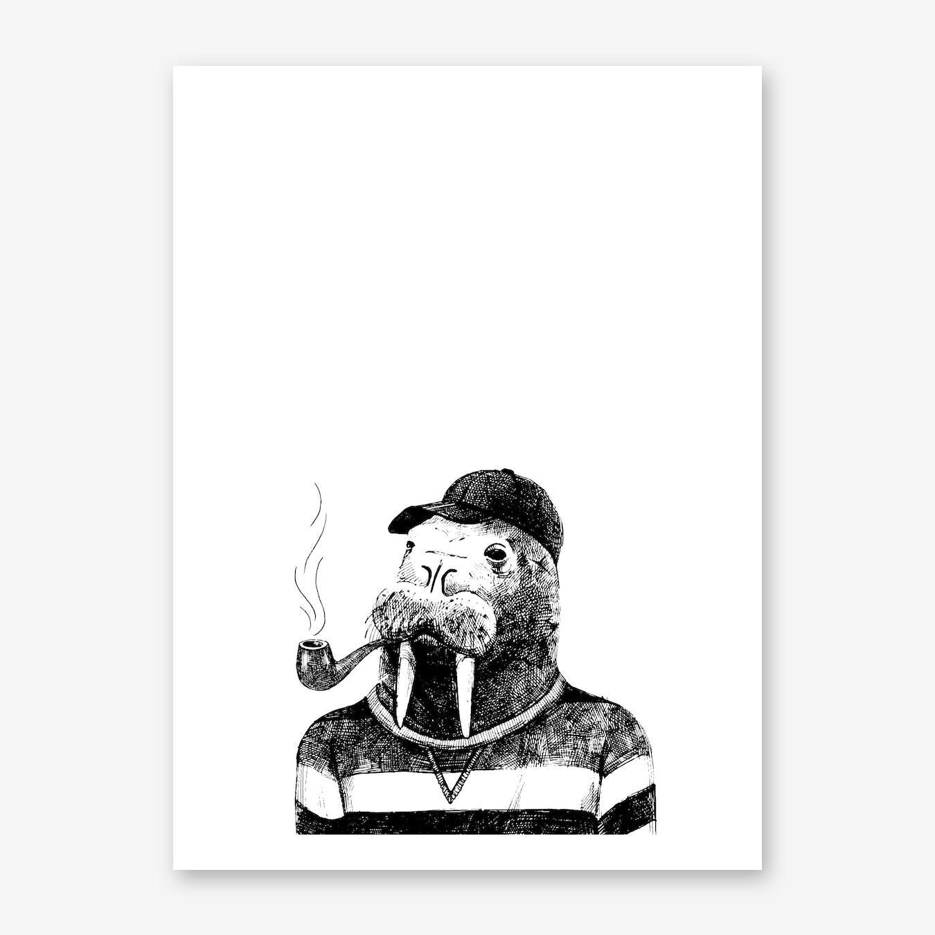 Hipster Walrus Print