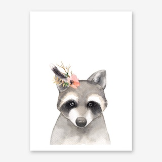 Floral Raccoon Art Print