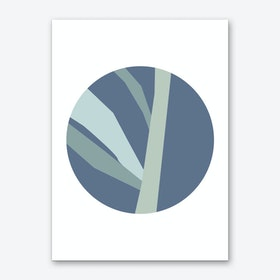 Abstract Blue Circle with Branches Art Print