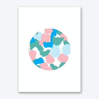 Abstract Circle Paint Blotches Pink and Teal Art Print